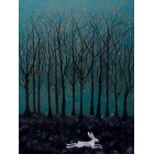The Hare ran through Starlit Woods Print