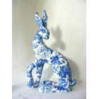 Blue Rose Hare resin sculpture
