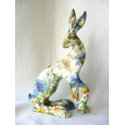 Cornflower and Daisy Hare resin sculpture