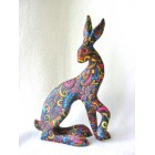 Psychedelic Hare resin sculpture