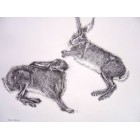 Jumping Hares print, mounted