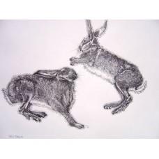 Jumping Hares print, mounted