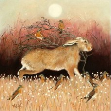 Hare and Fieldfares. Print + Mount