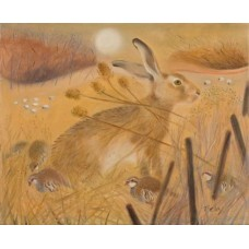 Hare and Red Legged Partridge. Print + Mount